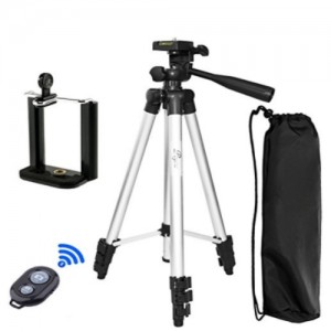 Tripod 3888 With Selfie Remote For Mobiles, Cameras