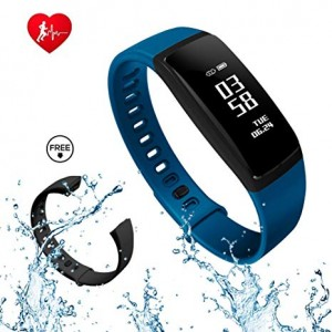 Sports Blood Pressure Heart Rate Monitor V07s Health Band (Blue)